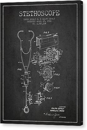 Stethoscope Patent Drawing From 1966- Dark Canvas Print