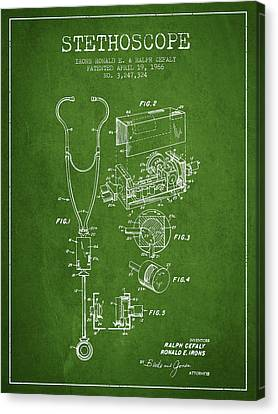 Stethoscope Patent Drawing From 1966- Green Canvas Print