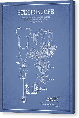 Stethoscope Patent Drawing From 1966- Light Blue Canvas Print by Aged Pixel