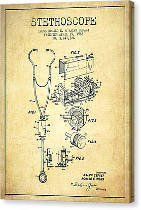 Stethoscope Patent Drawing From 1966- Vintage Canvas Print