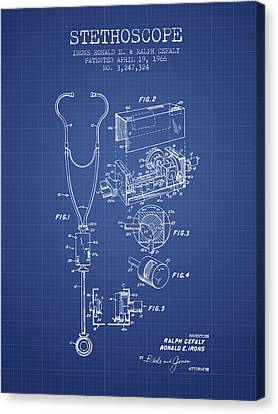 Stethoscope Patent From 1966 - Blueprint Canvas Print