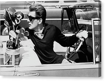 Steve Holland In A Chrysler New Yorker Canvas Print by Paul Himmel