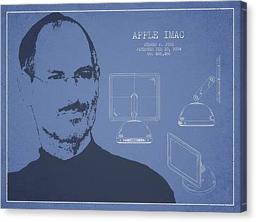 Steve Jobs Imac  Patent - Light Blue Canvas Print by Aged Pixel