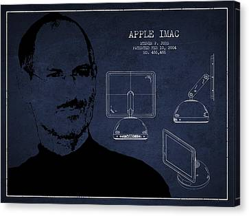 Steve Jobs Imac  Patent - Navy Blue Canvas Print by Aged Pixel