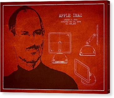 Steve Jobs Imac  Patent - Red Canvas Print by Aged Pixel