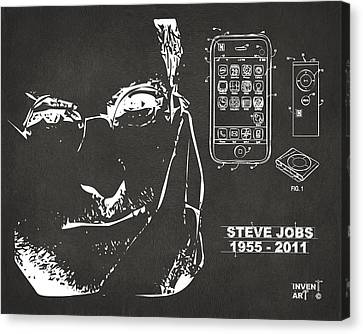 Steve Jobs Iphone Patent Artwork Gray Canvas Print by Nikki Marie Smith