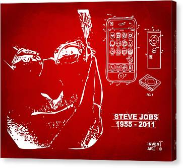 Steve Jobs Memorial Canvas Print - Steve Jobs Iphone Patent Artwork Red by Nikki Marie Smith