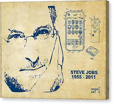 Memorial Canvas Print - Steve Jobs Iphone Patent Artwork Vintage by Nikki Marie Smith