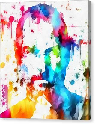 Steve Jobs Paint Splatter Canvas Print by Dan Sproul