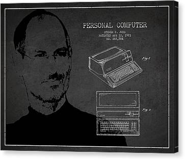 Steve Jobs Personal Computer Patent - Dark Canvas Print by Aged Pixel