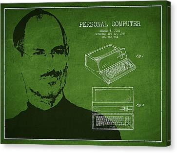 Steve Jobs Personal Computer Patent - Green Canvas Print by Aged Pixel