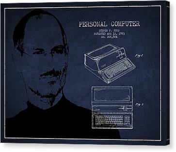 Steve Jobs Personal Computer Patent - Navy Blue Canvas Print by Aged Pixel