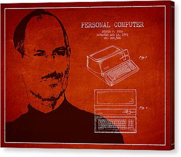 Steve Jobs Personal Computer Patent - Red Canvas Print by Aged Pixel