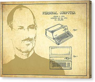 Steve Jobs Personal Computer Patent - Vintage Canvas Print by Aged Pixel
