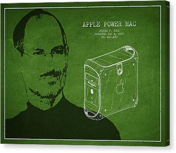 Steve Jobs Power Mac Patent - Green Canvas Print by Aged Pixel
