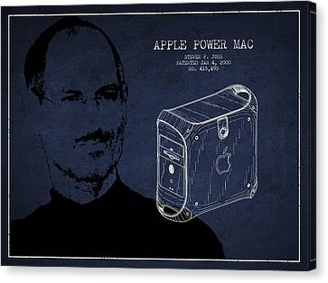 Steve Jobs Power Mac Patent - Navy Blue Canvas Print by Aged Pixel