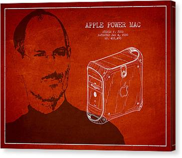 Steve Jobs Power Mac Patent - Red Canvas Print by Aged Pixel