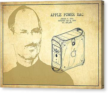 Steve Jobs Power Mac Patent - Vintage Canvas Print by Aged Pixel