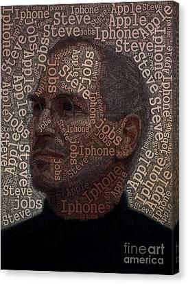 Steve Jobs Text Art Canvas Print by Boon Mee