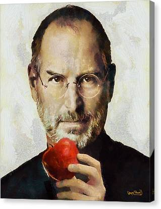 Canvas Print featuring the painting Steve Jobs  by Wayne Pascall
