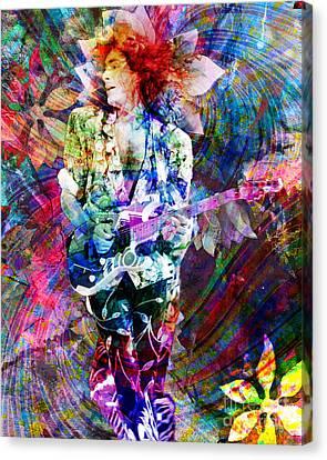 Steve Vai Original Painting Print Canvas Print by Ryan Rock Artist