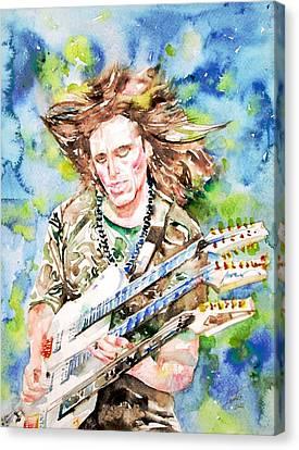 Steve Vai Playing The Guitar -watercolor Portrait Canvas Print by Fabrizio Cassetta