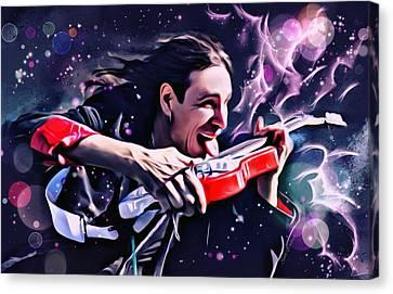 Steve Vai Portrait Canvas Print by Scott Wallace