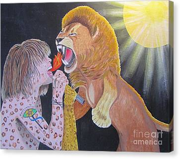 Steven Tyler Versus Lion Canvas Print by Jeepee Aero