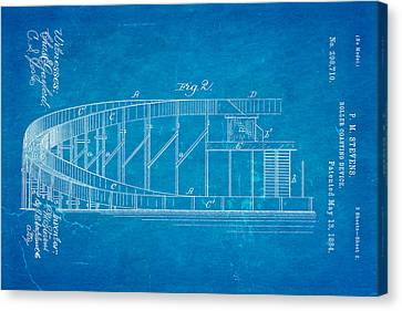 Stevens Roller Coaster Patent Art  2 1884 Blueprint Canvas Print by Ian Monk