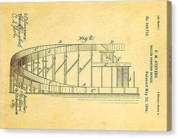 Stevens Roller Coaster Patent Art  2 1884 Canvas Print by Ian Monk