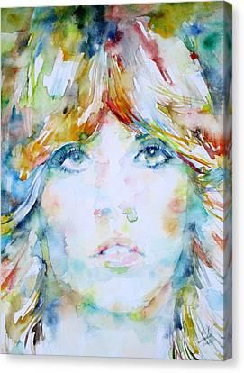 Stevie Nicks - Watercolor Portrait Canvas Print by Fabrizio Cassetta