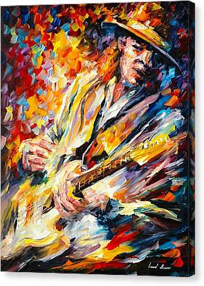 Stevie Ray Vaughan Canvas Print by Leonid Afremov
