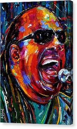 Stevie Wonder Canvas Print by Debra Hurd
