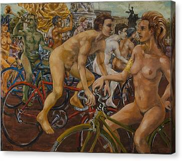 Steward Guiding Naked Bike Ride Outside Buckingham Palace Canvas Print by Peregrine Roskilly