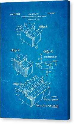 Stewart Integrated Circuit Patent Art 1964 Blueprint Canvas Print by Ian Monk