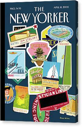 Stickers Or Badges Of Vacation Destinations Canvas Print