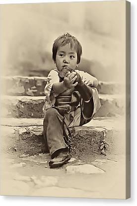 Tibetan Canvas Print - Sticky Boot Antique Sepia by Steve Harrington