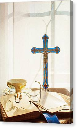 Still Life - Crossed Shadows Canvas Print by Jon Woodhams