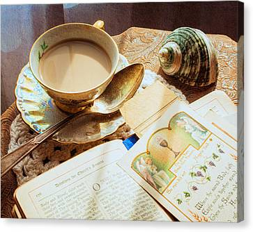 Still Life - Teacup Shell And Devotions Canvas Print by Jon Woodhams
