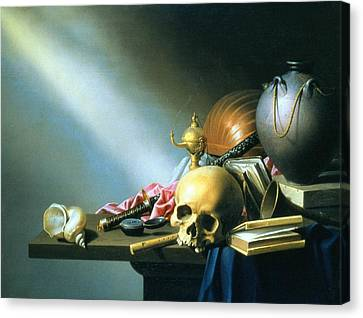 Still Life An Allegory Of The Vanities Of Human Life Canvas Print by Harmen van Steenwyck