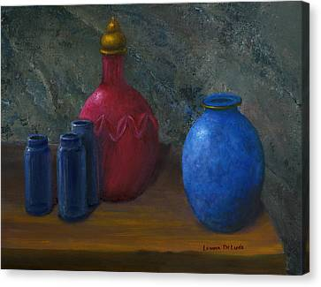 Red Canvas Print - Still Life Art Blue And Red Jugs And Bottles by Lenora  De Lude