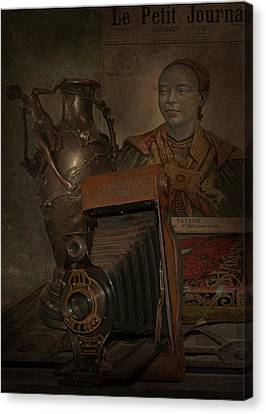 Shakespear Canvas Print - Still Life -bronze Vase With Camera by Jeff Burgess