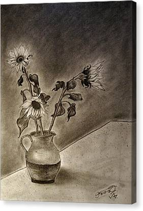 Still Life Ceramic Pitcher With Three Sunflowers Canvas Print by Jose A Gonzalez Jr