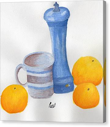 Still Life - Cup With Pepperpot And Oranges Canvas Print by Bav Patel