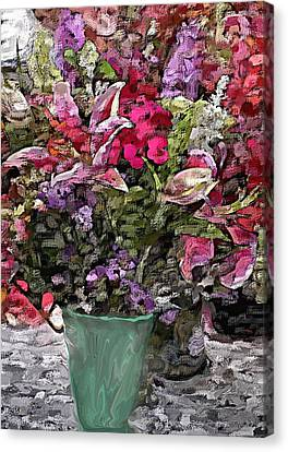 Canvas Print featuring the digital art Still Life Floral by David Lane