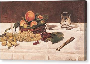 Still Life Fruit On A Table, 1864 Oil On Canvas Canvas Print by Edouard Manet