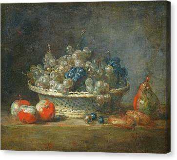 Apple Canvas Print - Still Life Grape Basket With Three Apples, A Pear And Two Marzipans, 1764 Oil On Canvas by Jean-Baptiste Simeon Chardin