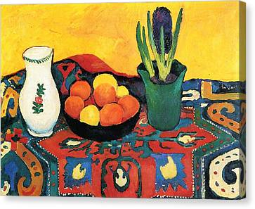 Canvas Print featuring the painting Still Life Hyacinths Carpet  by August Macke