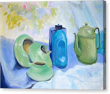 Canvas Print featuring the painting Still Life In Blue And Green Pottery by Greta Corens