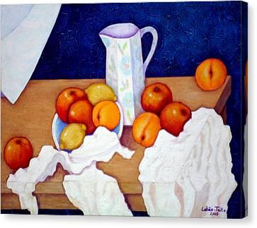 Still Life In Honor Of Cezanne   Canvas Print by Madalena Lobao-Tello